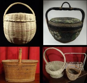 6 Vintage Woven Baskets, Includes Picnic Basket, 2