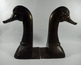 "Pair Brass Duck Head Bookends, Approx 10""h"