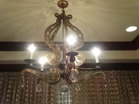 Ornate Bronze Finish Metal Chandelier With Crystal