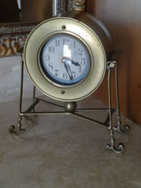 "Small Brass Clock On 4 Legs, Approx 6""h"