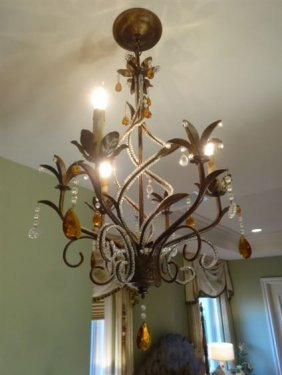Bronze Finish Metal And Crystal Chandelier, Amber And