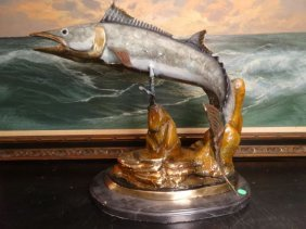Patinated Bronze Sculpture, Large Fish, On Marble Base,