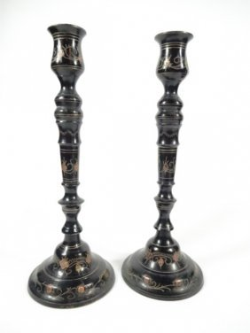 Pair Metal Candlesticks With Copper Inlay & Etched