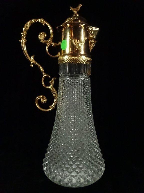 CRISTALLIN GILT METAL & GLASS EWER, MADE IN ITALY, - 7