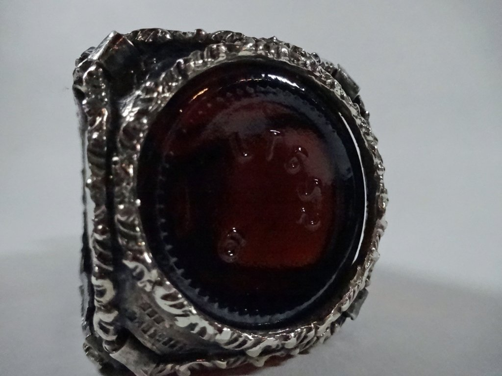 AMBER BOTTLE WITH STERLING SILVER OVERLAY, MARKED 925, - 4