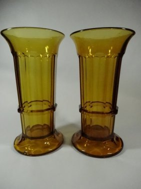 "Pair Vintage Amber Glass Vases, Approx 10""h"