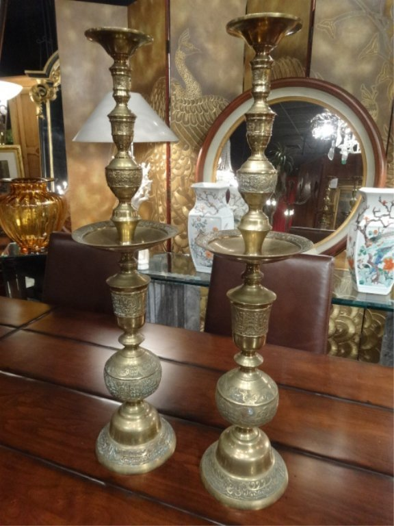 PAIR LARGE MIDDLE EASTERN BRASS CANDLESTICKS, APPROX