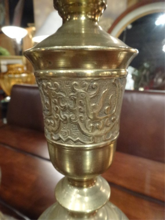 PAIR LARGE MIDDLE EASTERN BRASS CANDLESTICKS, APPROX - 4