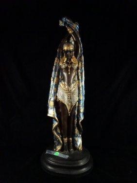 Patinated Bronze Sculpture, Chiparus Style Art Deco