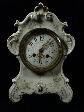 Japy Freres Clock, Made In France In Porcelain Silesien