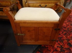 Upholstered Wood Storage Bench, With Single Door