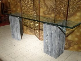 Modern Design Marble Console Table, Dual Marble Base