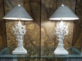 Pair 1970's White Ceramic Coral Form Lamps, Conical