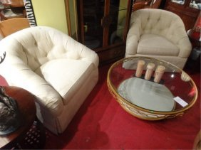 3 Pc Pair Swivel Armchairs And Ottoman, From The Yacht