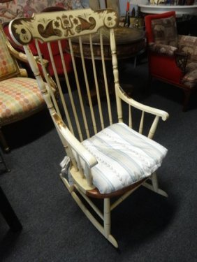 L. Hitchcock Rocker, White With Stenciled Back,