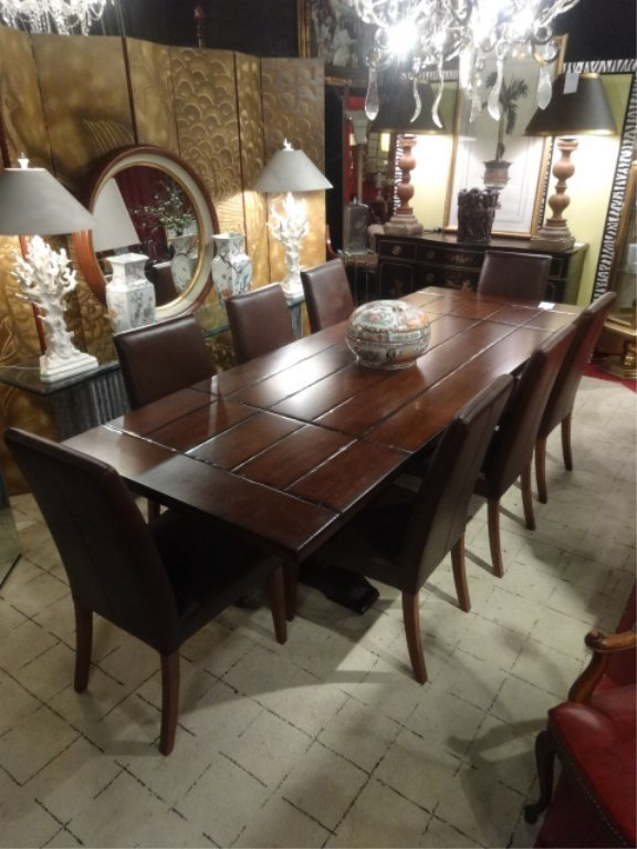 CONTEMPORARY TRESTLE DINING TABLE, 8 BROWN LEATHER