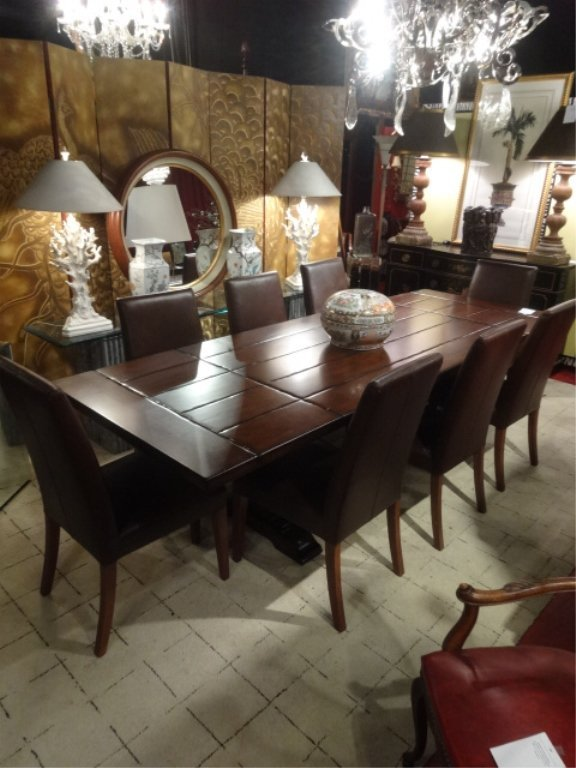 CONTEMPORARY TRESTLE DINING TABLE, 8 BROWN LEATHER - 2