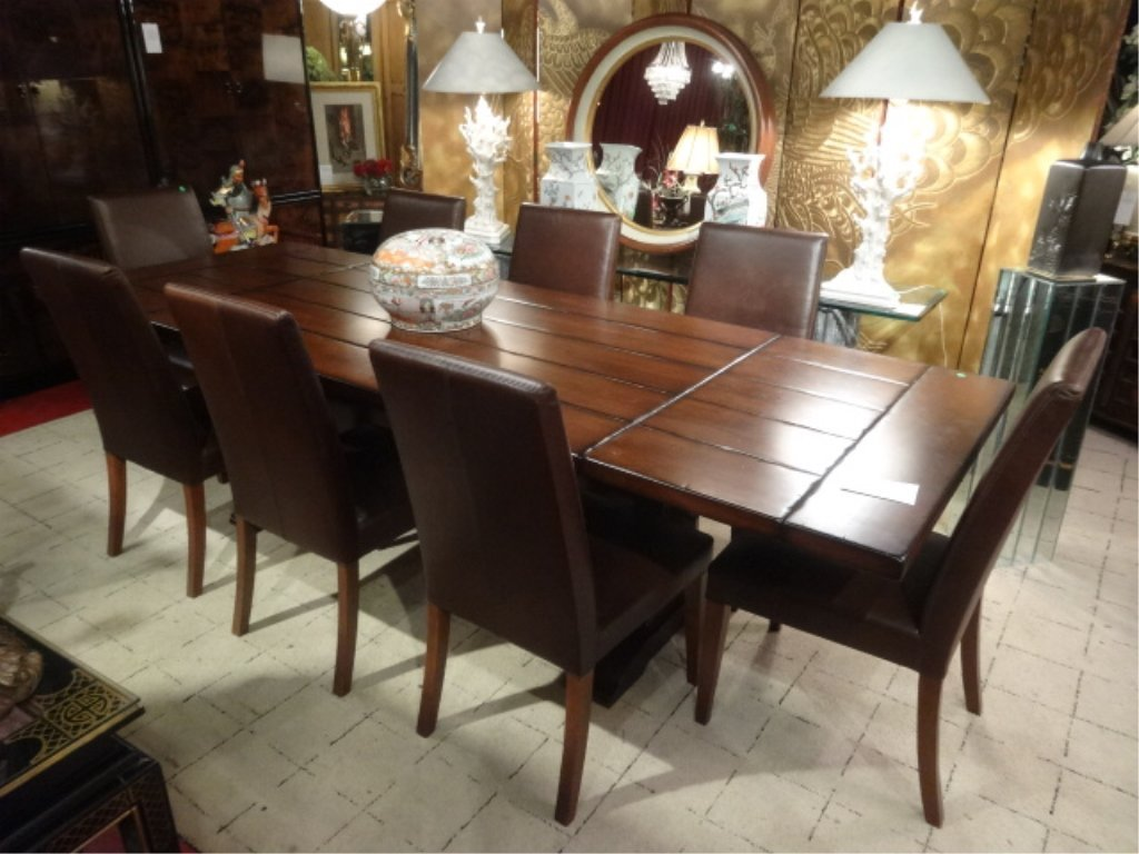CONTEMPORARY TRESTLE DINING TABLE, 8 BROWN LEATHER - 3