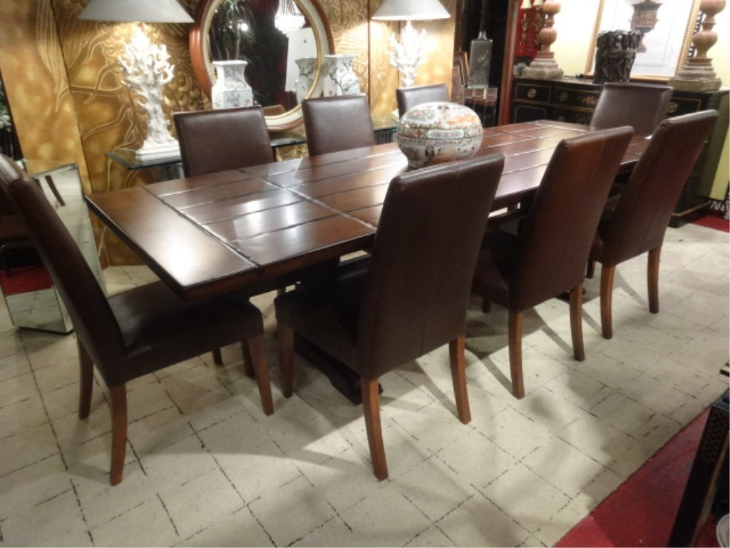 CONTEMPORARY TRESTLE DINING TABLE, 8 BROWN LEATHER - 4