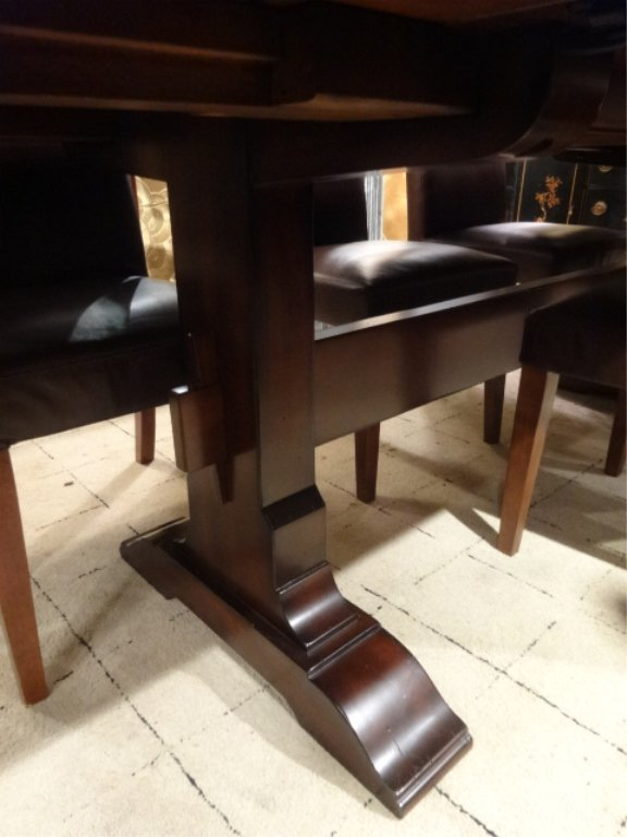 CONTEMPORARY TRESTLE DINING TABLE, 8 BROWN LEATHER - 6