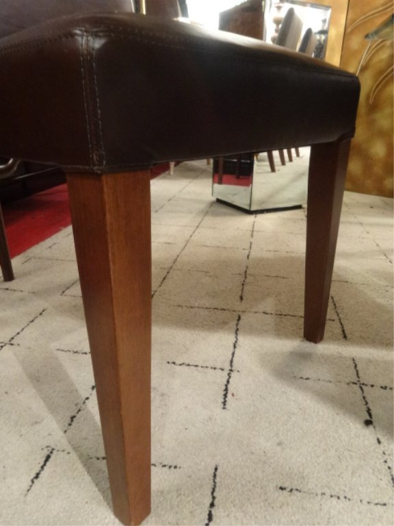 CONTEMPORARY TRESTLE DINING TABLE, 8 BROWN LEATHER - 9