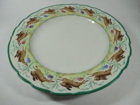 Porcelain Plate With Leaping Rabbit Design Around Rim,