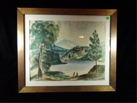 Zorach Signed Watercolor Painting On Paper, Landscape