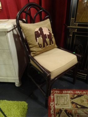 Rattan And Wood Chair With Gold Cushion And Elephant