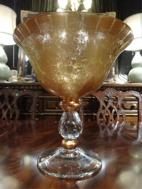 LARGE GOLD ART GLASS CENTERPIECE PEDESTAL BOWL, CLEAR
