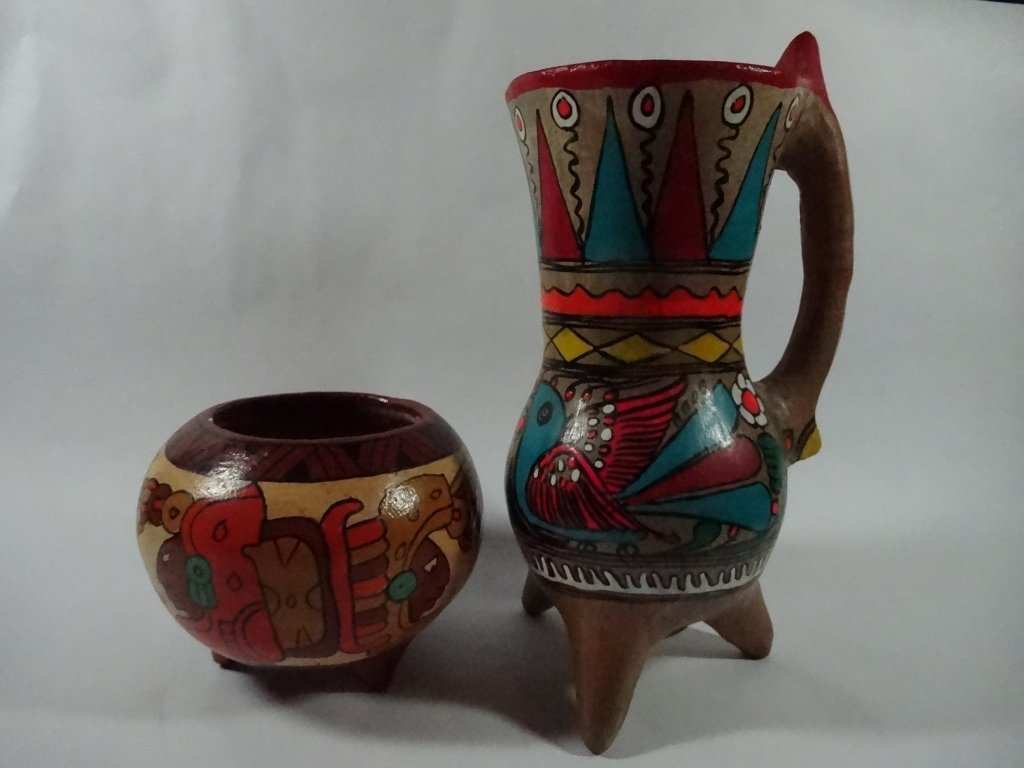 """2 PC MEXICAN POTTERY, TALLEST APPROX 9""""H"""