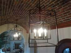 PAIR WROUGHT IRON CHANDELIERS 5 LIGHTS EACH APPROX