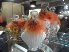 5 PC BATH VANITY SET GLASS DECANTERS WITH FEATHERS AND