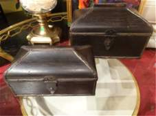 2 PC SET CARVED WOOD BOXES, METAL CLASPS, LARGEST