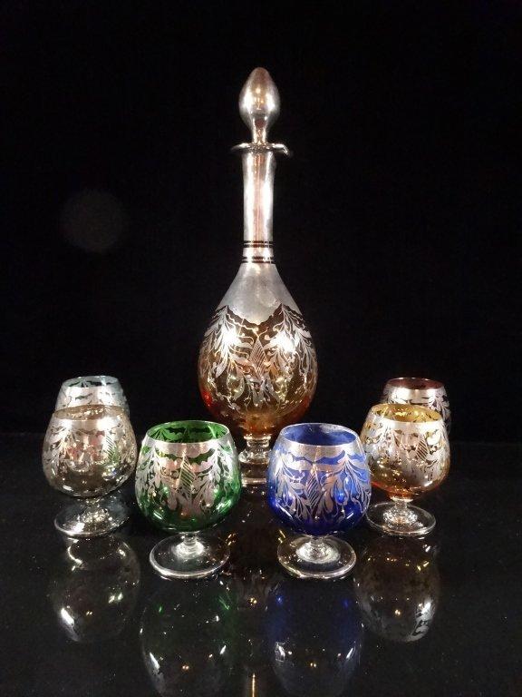 7 PC VENETIAN GLASS DECANTER & 6 MULTI COLOR GOBLETS,