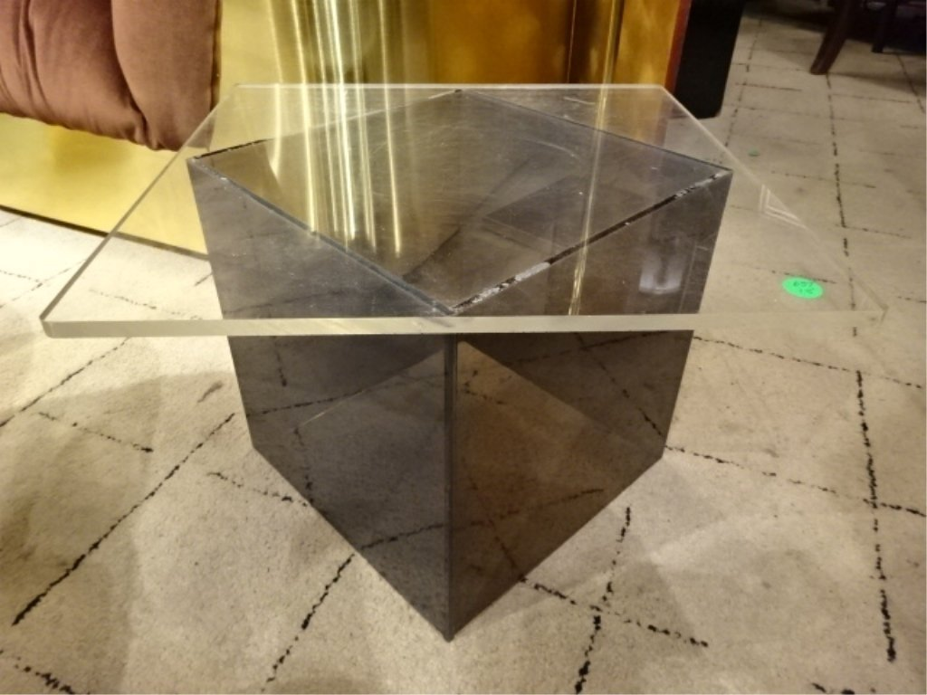 1970's CLEAR AND SMOKE ACRYLIC LOW SIDE TABLE, VERY