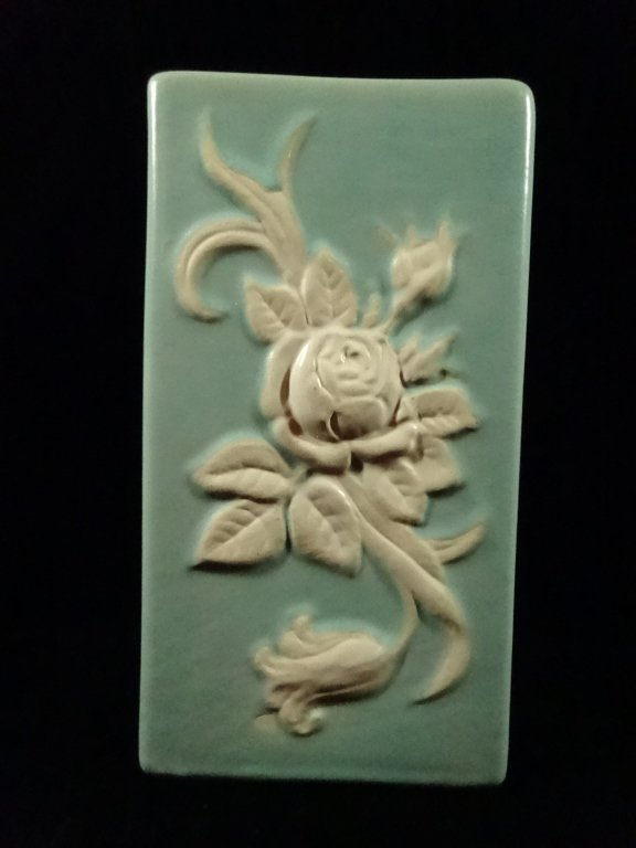 """WELLER POTTERY BLUE & WHITE FLORAL VASE, APPROX 8.75""""H"""