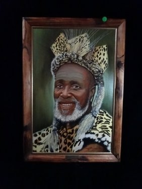 Craig H. Barber African Painting, Zulu Chief, Framed
