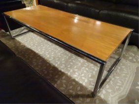 Modern Chrome And Wood Coffee Table, Light Finish Wood