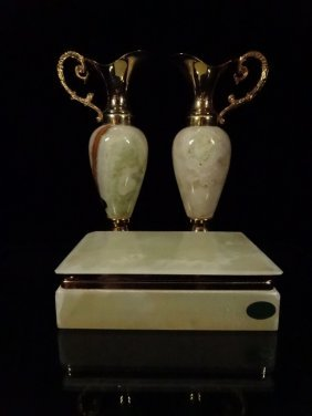 3 Pc Onyx Of Pakistan Box & Pair Of Ewer Form Vases,