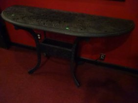 Aluminum Demilune Patio Table, Black Finish, Good