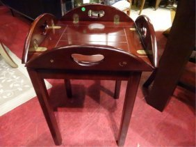 Square Butler's Tray Table, Brass Hinges, Excellent