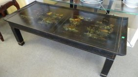 Painted Chinoiserie Coffee Table, Black Lacquer With