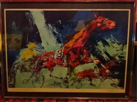 "Large Leroy Neiman Serigraph Titled ""trotters"", Pencil"