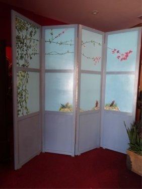 Large 4 Panel Painted Wood Floor Screen, Handpainted
