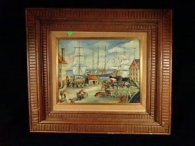 Adler Oil Painting On Board, Harbor Scene, Signed Lower