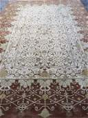 LARGE PERSIAN STYLE WOOL RUG, IVORY FIELD WITH GOLD,
