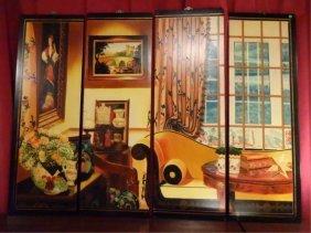 Large 4 Panel Artwork, Interior Scene, Each Panel