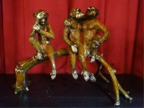 Patinated Bronze Sculpture, 3 Monkeys On Branch, Approx