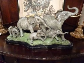 Patinated Bronze Sculpture, 5 Elephants, On Marble
