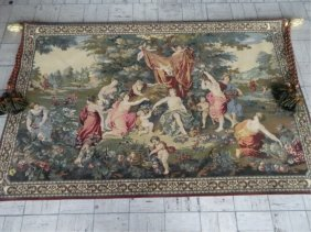 Large Classical Style Tapestry With Figural Scene, On